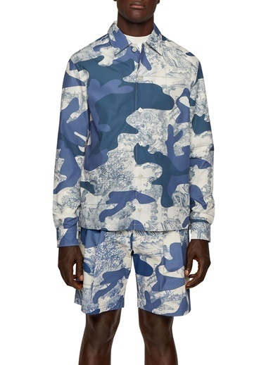 Hugo Boss  % 100 Pamuklu Desenli Relaxed Fit Uzun Kollu Gömlek Erkek Gömlek 50449614 489 Mavi